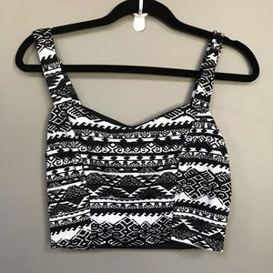 Black and white tribal crop tank top